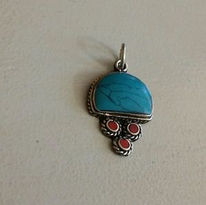 Turquoise red coral pendant Sterling Silver new